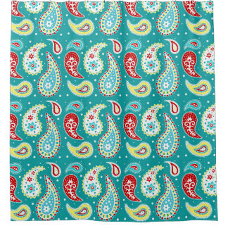 Teal Red Yellow Paisley Pattern Shower CurtainFloral Paisley Shower Curtains   Zazzle. Yellow And Teal Shower Curtain. Home Design Ideas