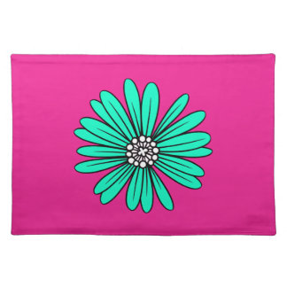 Teal Retro Colorful Modern Flower Pattern Cloth Placemat