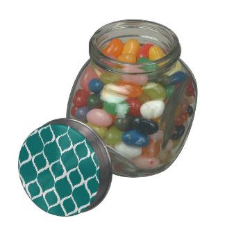 Teal Retro Geometric Ikat Tribal Print Pattern Jelly Belly Candy Jars