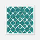 Teal Retro Geometric Ikat Tribal Print Pattern Paper Napkins