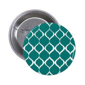 Teal Retro Geometric Ikat Tribal Print Pattern Pinback Button
