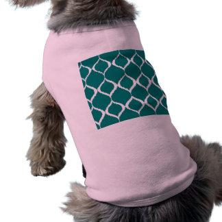 Teal Retro Geometric Ikat Tribal Print Pattern Shirt
