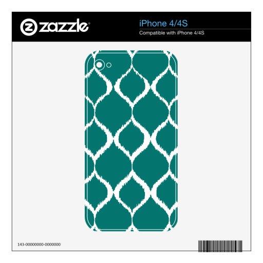 Teal Retro Geometric Ikat Tribal Print Pattern iPhone 4S Skin