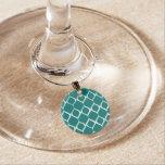 Teal Retro Geometric Ikat Tribal Print Pattern Wine Glass Charms