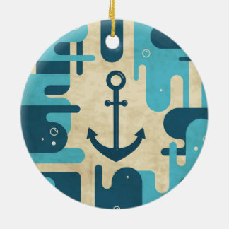 Teal Retro Nautical Anchor Design Ceramic Ornament
