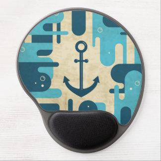 Teal Retro Nautical Anchor Design Gel Mousepad