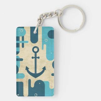 Teal Retro Nautical Anchor Design Keychain