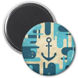 Teal Retro Nautical Anchor Design Magnets