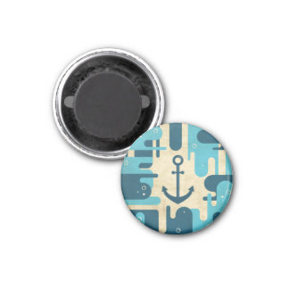 Teal Retro Nautical Anchor Design Fridge Magnets