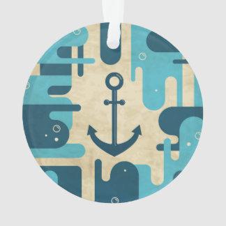 Teal Retro Nautical Anchor Design Ornament