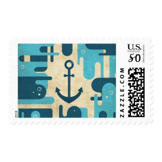 Teal Retro Nautical Anchor Design Postage