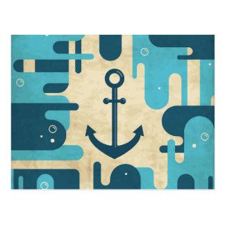 Teal Retro Nautical Anchor Design Postcard