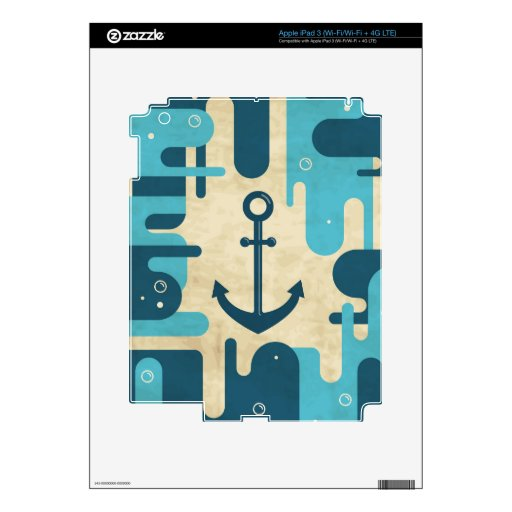 Teal Retro Nautical Anchor Design Decal For iPad 3