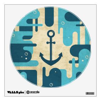 Teal Retro Nautical Anchor Design Wall Decal