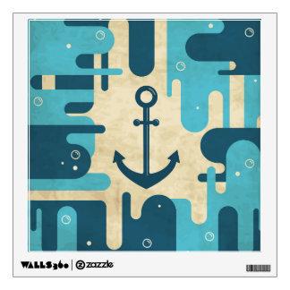 Teal Retro Nautical Anchor Design Wall Sticker