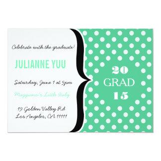 "Teal Retro Polka Dot Graduation 2015 Invite 5"" X 7"" Invitation Card"