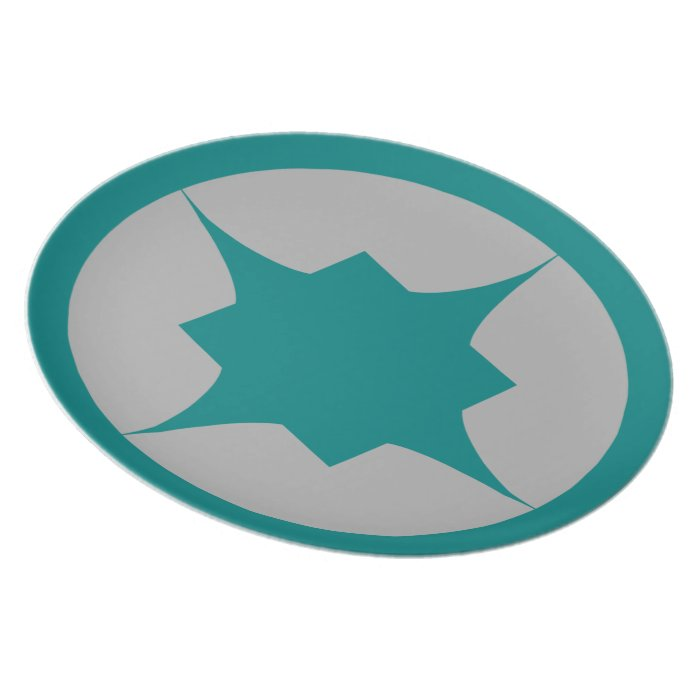 Teal Retro Star Snack Plate