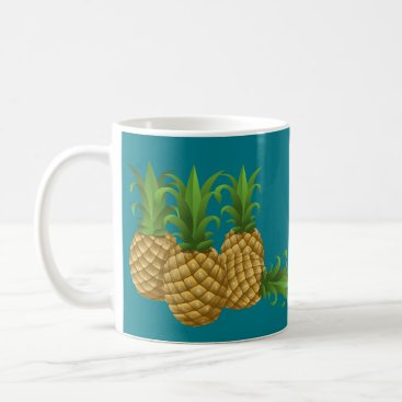 Coffee Themed Teal Retro Vintage Pineapple Coffee Mug