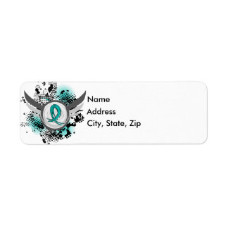 Teal Ribbon And Wings Ovarian Cancer Label