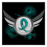 Teal Ribbon And Wings Ovarian Cancer Print