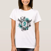 Teal Ribbon And Wings Ovarian Cancer T-Shirt
