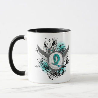 Teal Ribbon And Wings PKD Mug