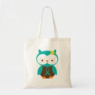 Teal Ribbon Awareness Owl Canvas Bag