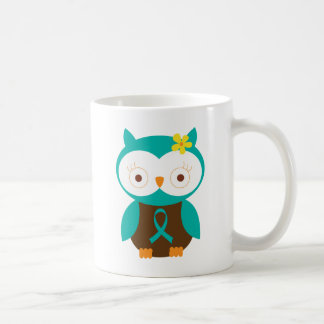 Teal Ribbon Awareness Owl Coffee Mug