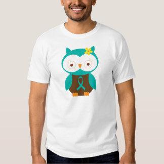 Teal Ribbon Awareness Owl T Shirt