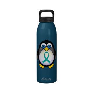 Teal Ribbon Awareness Penguin Liberty Bottle Water Bottle