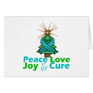 Teal Ribbon Christmas Peace Love, Joy & Cure Greeting Card
