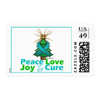 Teal Ribbon Christmas Peace Love, Joy & Cure Postage