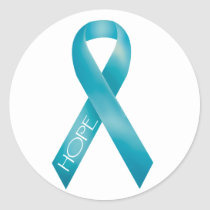 Teal Ribbon Classic Round Sticker