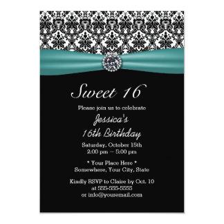 Teal Ribbon & Damask Chic Diamond Sweet 16 Card