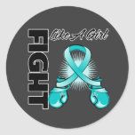 Teal Ribbon Fight Like A Girl Classic Round Sticker