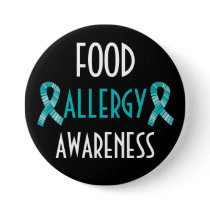 Teal Ribbon Food Allergy Awareness Black and Teal Pinback Button