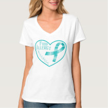 Teal Ribbon Food Allergy Awareness Heart T-Shirt