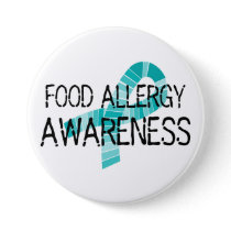 Teal Ribbon Food Allergy Awareness Shades of Teal Pinback Button