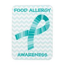 Teal Ribbon Food Allergy Awareness Teal Chevron Magnet