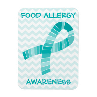 Teal Ribbon Food Allergy Awareness Teal Chevron Magnet