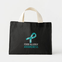 Teal Ribbon Food Allergy Awareness Tote Bag