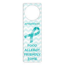 Teal Ribbon Food Allergy Friendly Zone Teal Door Hanger