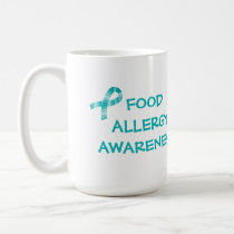 Teal Ribbon Food Allergy Teal and White Coffee Mug
