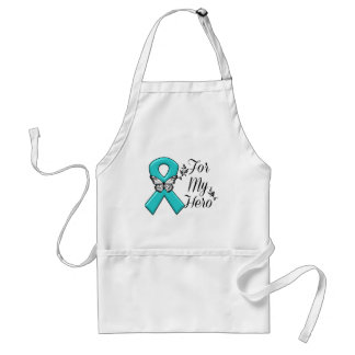 Teal Ribbon For My Hero Adult Apron