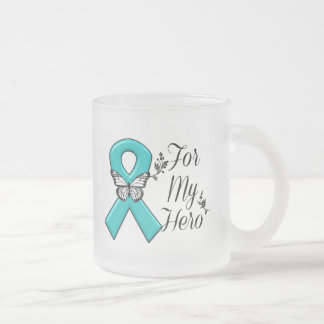 Teal Ribbon For My Hero Frosted Glass Coffee Mug
