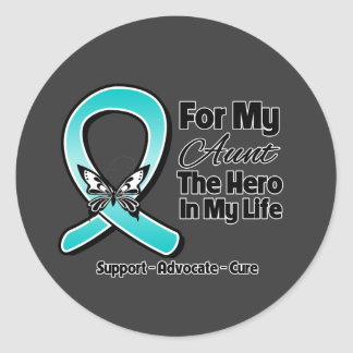 Teal Ribbon For My Hero My Aunt Round Stickers