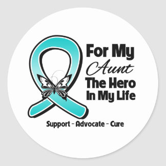 Teal Ribbon For My Hero My Aunt Stickers
