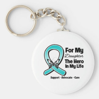 Teal Ribbon For My Hero My Daughter Keychain