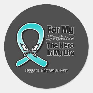 Teal Ribbon For My Hero My Girlfriend Round Sticker