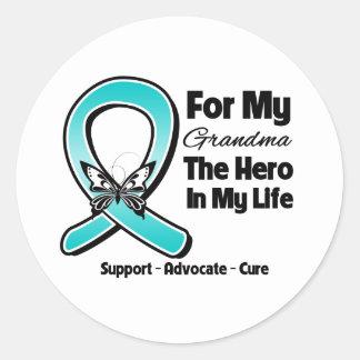Teal Ribbon For My Hero My Grandma Round Stickers